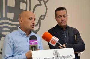 El tinent d'alcalde de Qualitat Urbana, Jordi Pont, i el portaveu del grup socialista, Jordi Riba.
