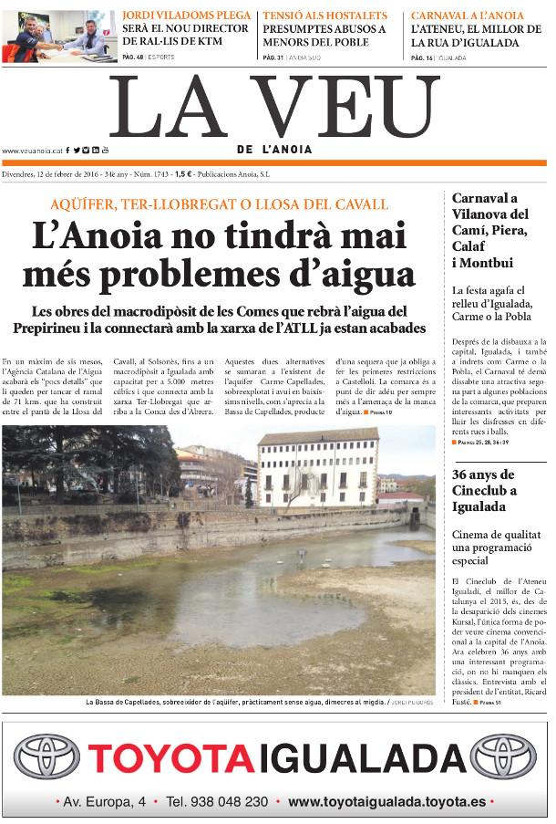 portada de La Veu de l'Anoia - 12 de febrer de 2016 - VeuAnoia.cat
