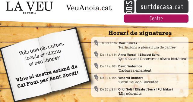 horaris sant jordi firmes estand La Veu - La Veu de l'Anoia - VeuAnoia.cat