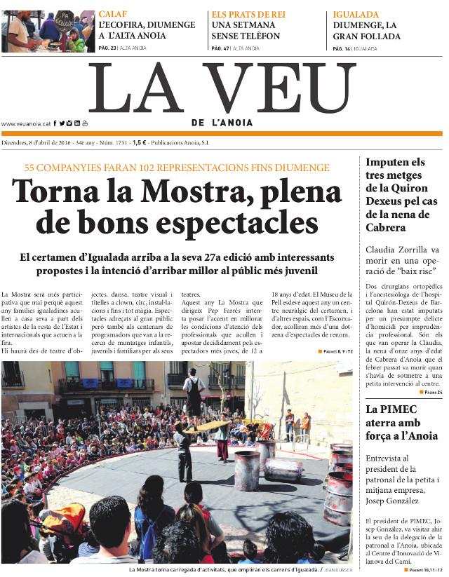 portada La Veu 8 abril 2016 - La Veu de l'Anoia - VeuAnoia.cat